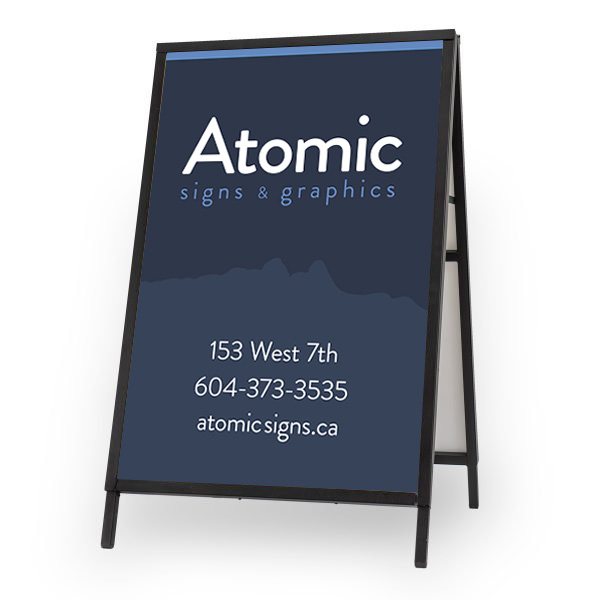 The Atomic Sandwich Board with our contact info on it